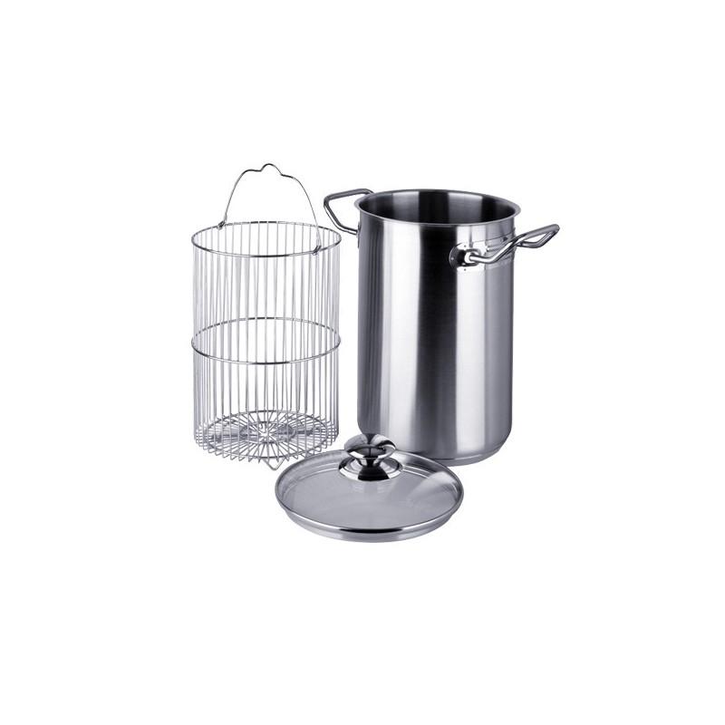 Cocedor de esp rragos industrial con olla cesta y tapa en for Ollas para cocina industrial