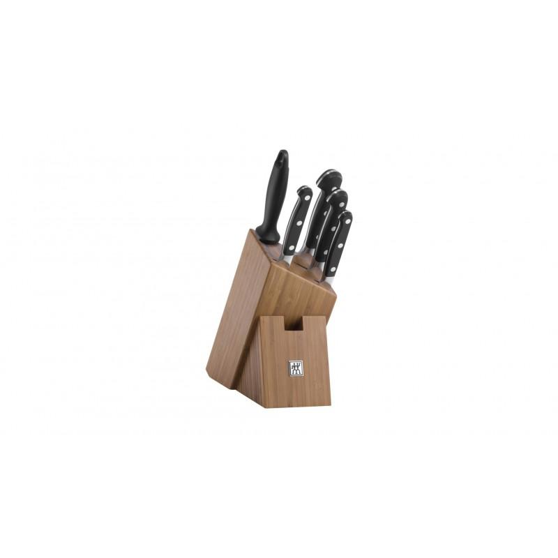 Juego de 4 cuchillos de cocina más chaira con bloque de madera de bambú Zwilling Pro