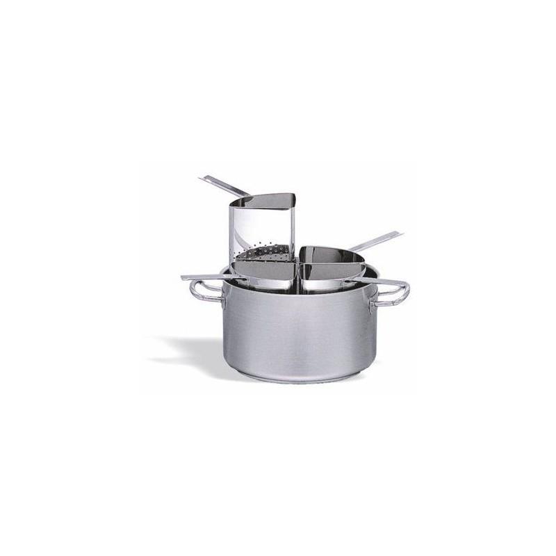 Conjunto de cocción de pasta con 4 sectores inox 18/10