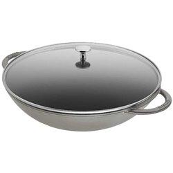 Wok de hierro fundido y tapa de cristal de 37 cm.