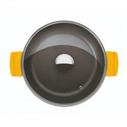 Cacerola baja 32 cm. de fundición con antiadherente y tapa de cristal