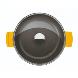 Cacerola baja 36 cm. de fundición con antiadherente y tapa de cristal