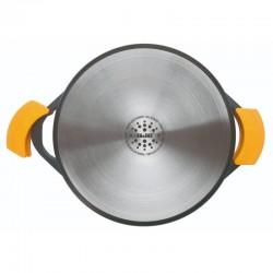 Cacerola baja 40 cm. de fundición con antiadherente y tapa de cristal