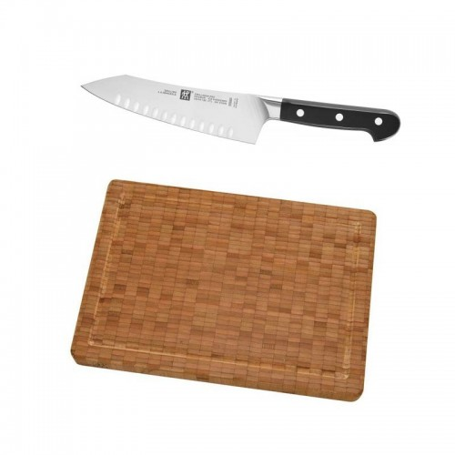 Set oriental cuchillo santoku de 18 cm. alveolado más tabla de corte de babú mediana