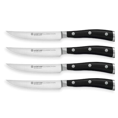 Juego de 4 cuchillos para carne de 12 cm. Wüsthof serie Classic Ikon acero forjado