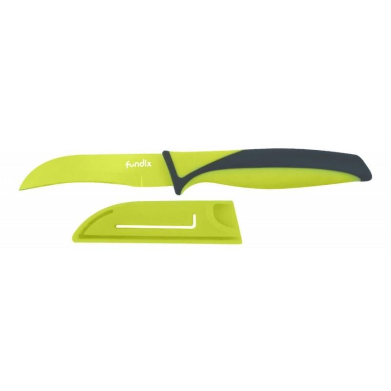Cuchillo pelador de color verde con funda protectora de 9 cm.