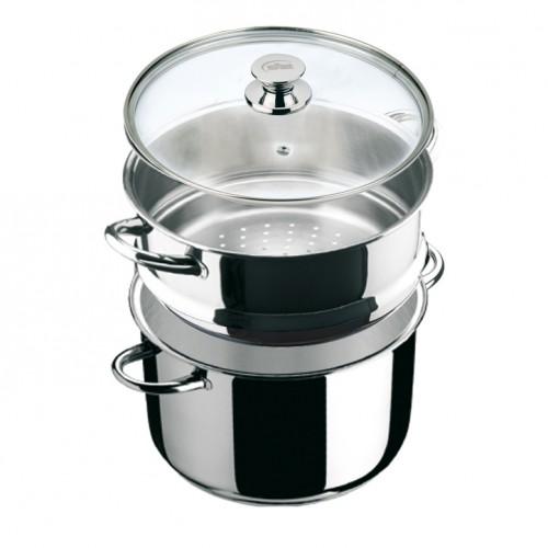 Conjunto de vapor olla y cocedor con tapa cirstal