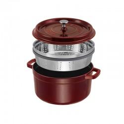 Cocotte con vaporera color granadina