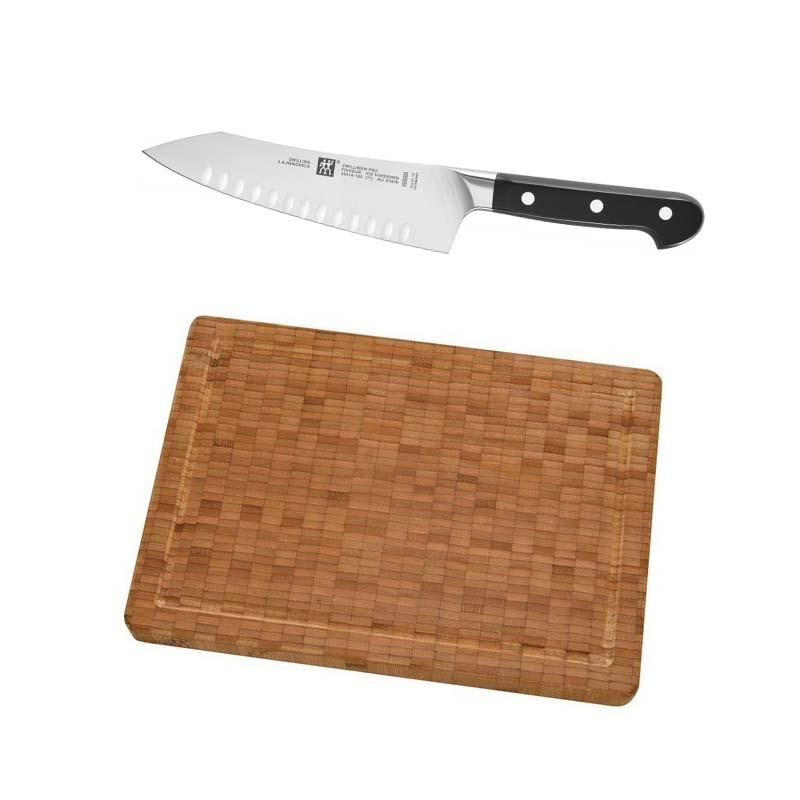 Set oriental cuchillo santoku de 18 cm m s tabla de corte - Tabla de cuchillos ...