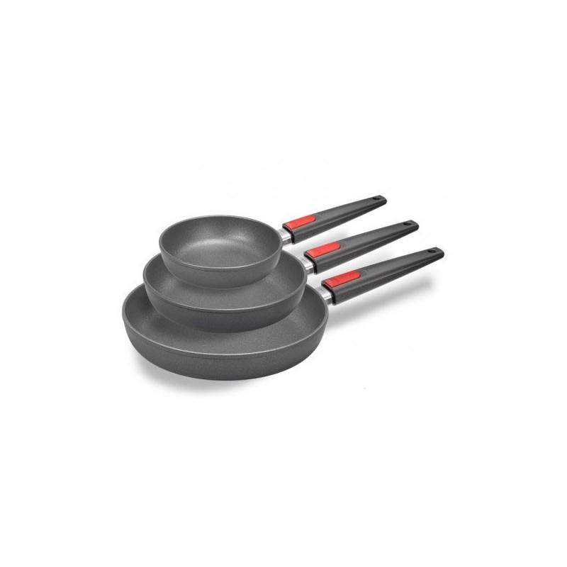 Juego de 3 sartenes de titanio de Woll Ø20, Ø24 y Ø28 cm. para gas y vitro