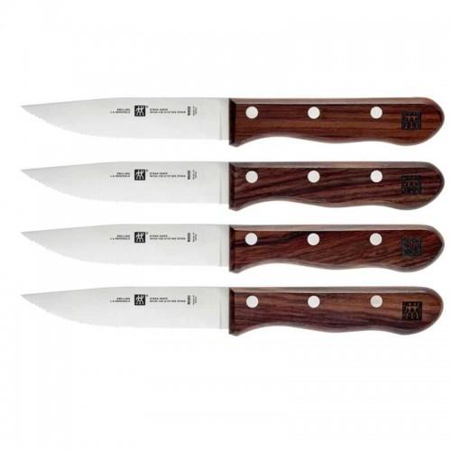 Juego 4 cuchillos chuleteros con mango de madera
