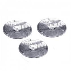 Pasapurés inox satinado con 3 discos y mango de varilla 20 cm.
